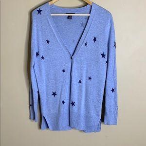 Gap blue star button down cardigan